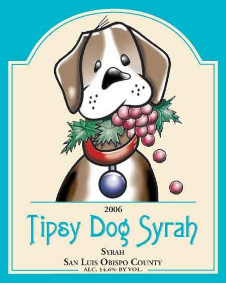 wine label dog