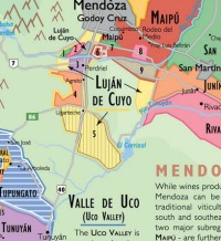 Map Wine regions of South America, mendoza