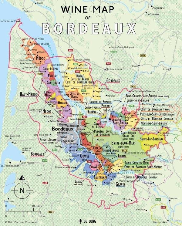 Wine map of the Bordeaux region