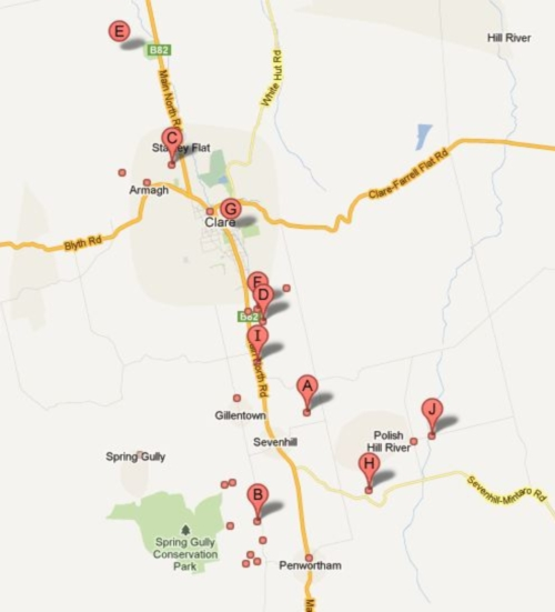 Clare Valley Wineries on Google Maps