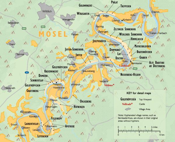 Detail of German wine region map