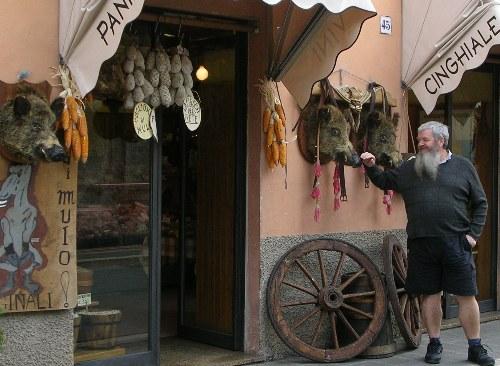 Darby In Noto at wild boar sausage shop