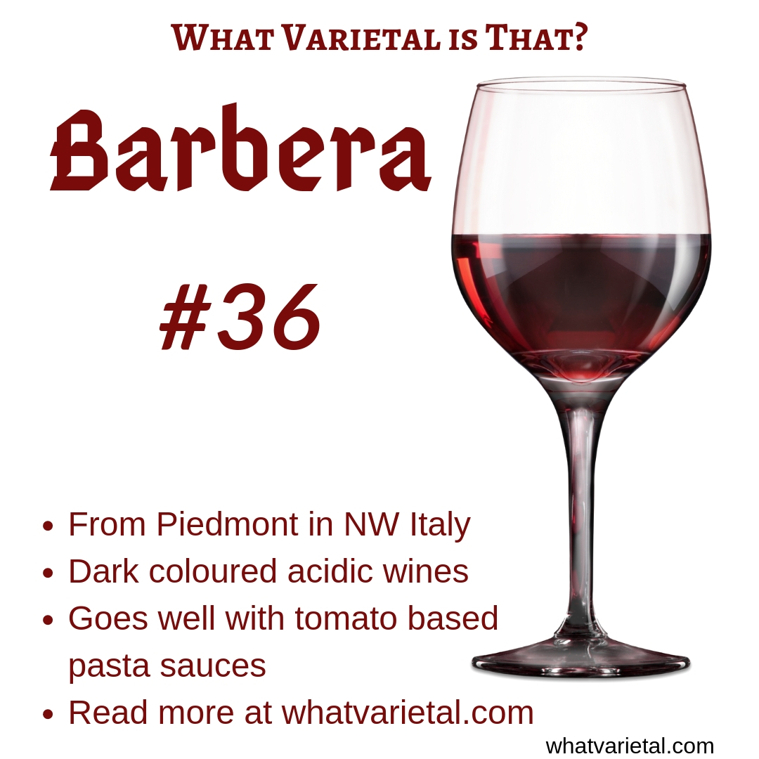 Barbera red wine variety is described in the book What Varietal is That?