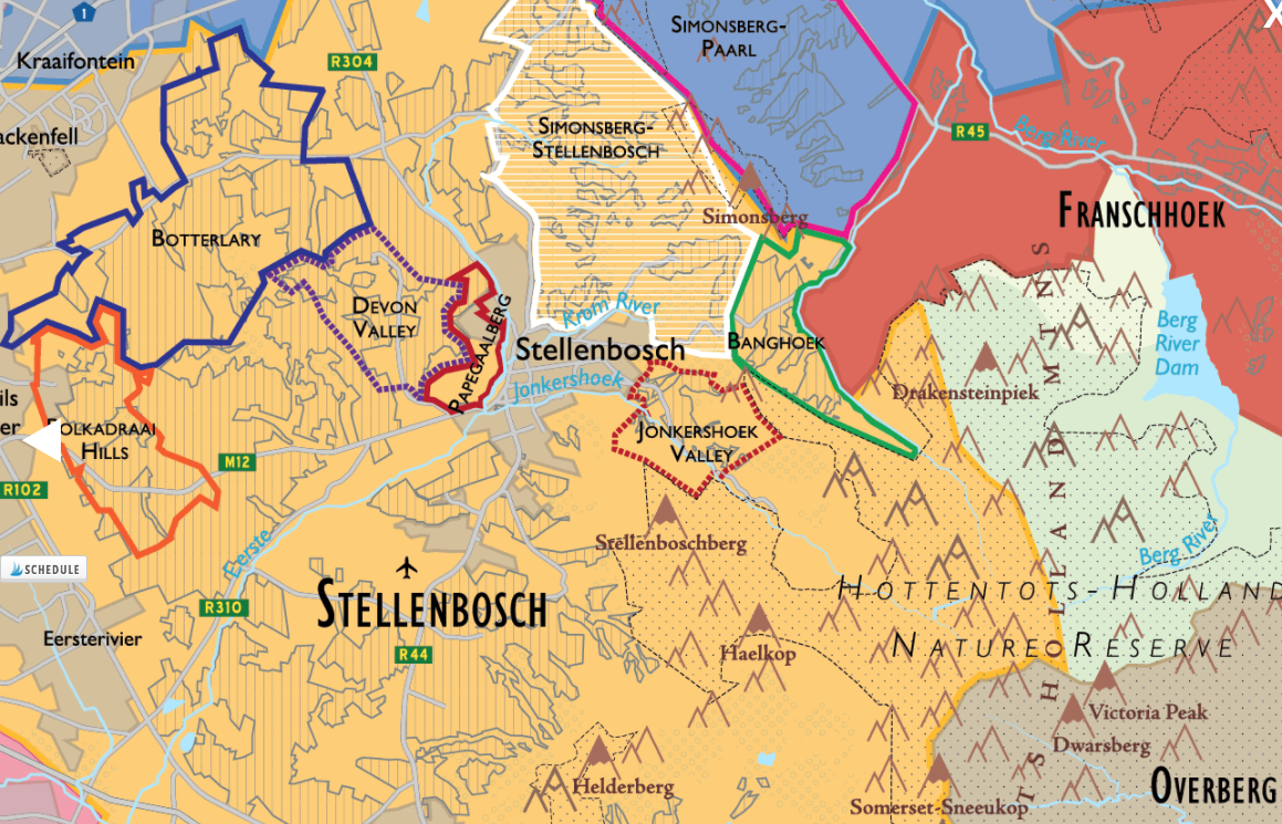 Stellenbosch Wine Region detail of  De Long's South African Wine Map