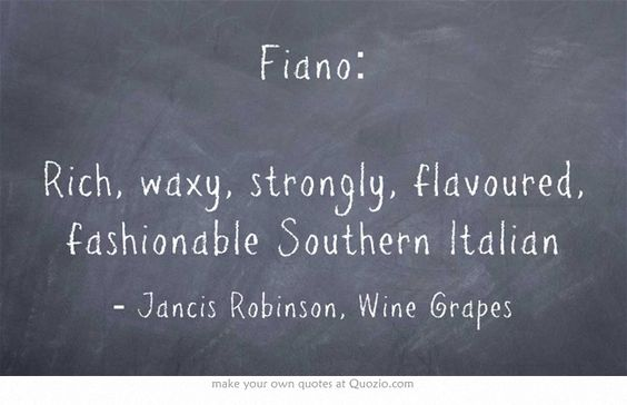 Jancis Robinson quote about Fiano white wine variety