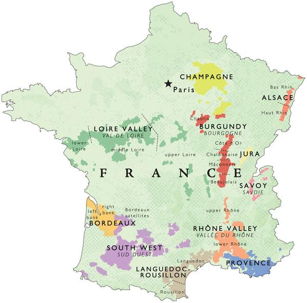 Outline of the main wine regions of France