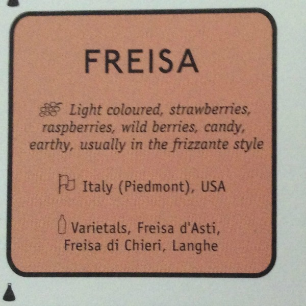 Freisa red wine variety from Piedmont, Italy