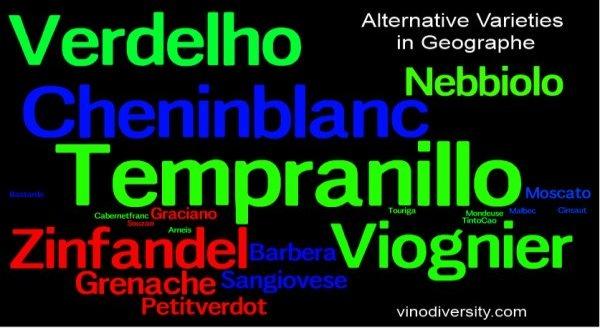 Wine grape varieites used in the Geographe wine region