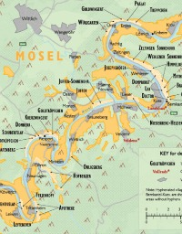Detail of the wine map of Germany showing the Mosel wine regions