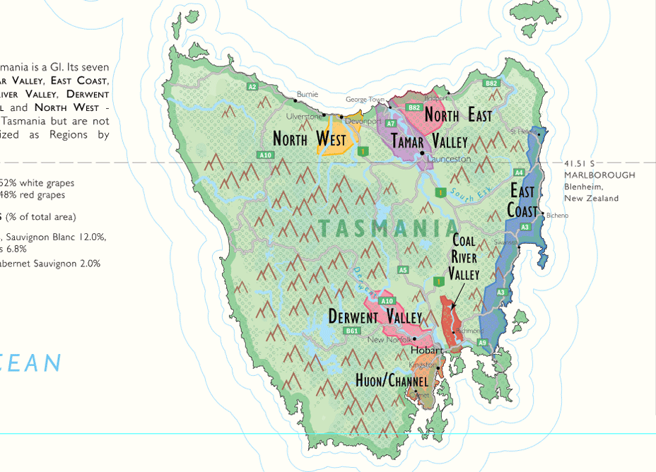 Tasmanan Detail of De Long's Wine Map Of Australia