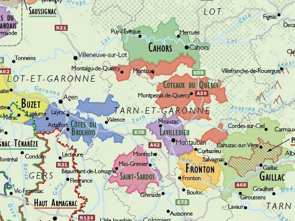 Detail of Part of South West France on Delong's Map showing AOC areas