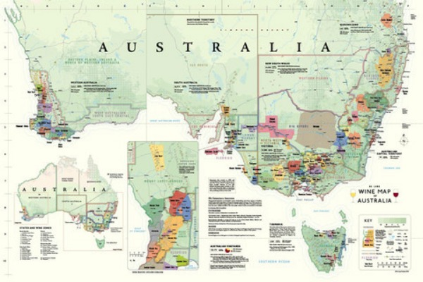 De long's Wine map of Australia
