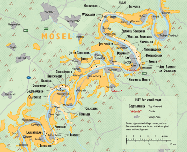 Wine regions along the Mosel River in Germany