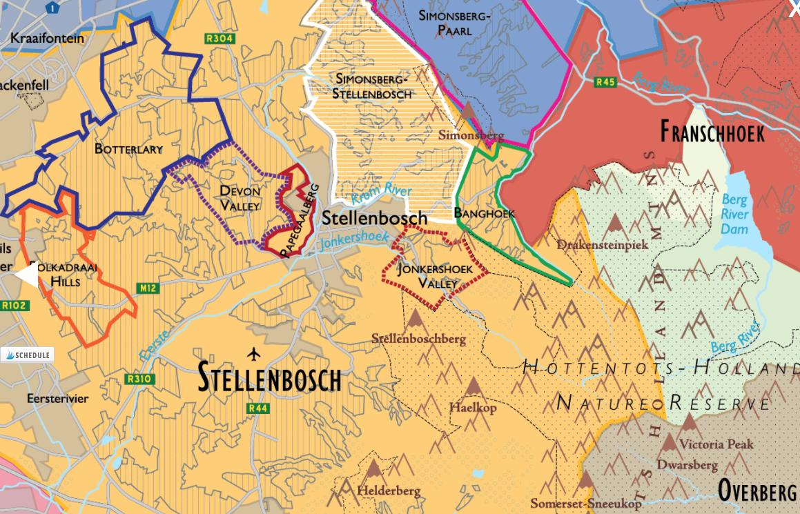 Stellenbosch Wine Region detail of  De Long's South African Wine Map