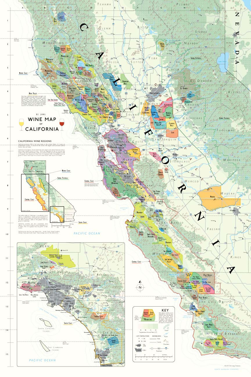 Wine Map of California, full size poster