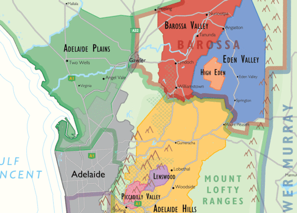 Wine regions to the east and north east of Adelaide.  Detail from De Long's wine map of Australia.