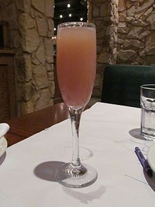Bellini made from Prosecco and peach nectar