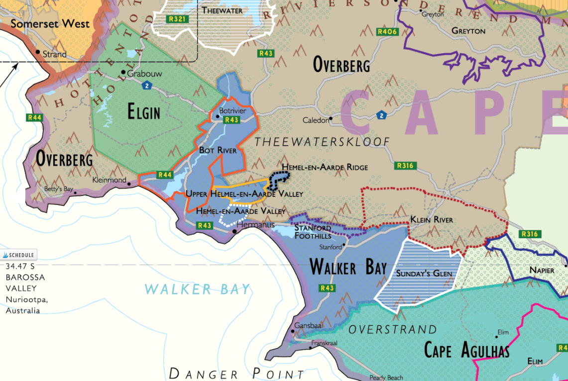 Detail of the Wine Map of South Africa by De Long