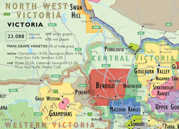 Map showing the Heathcote wine region