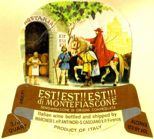 EST! EST!! EST!!! Wine label