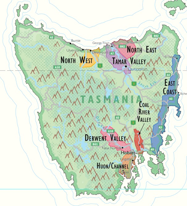 Wine map of Tasmania