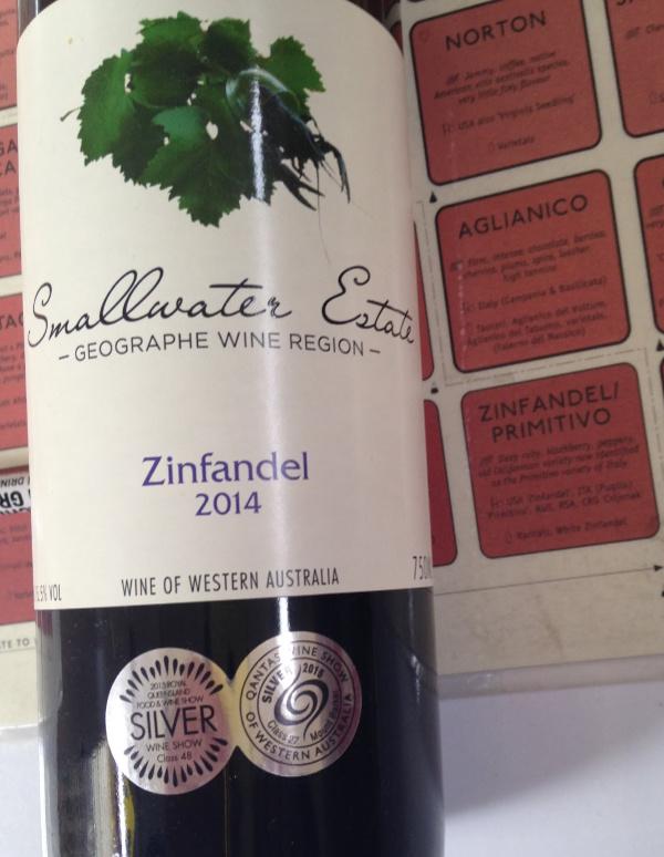 Zinfandel wine from made By Smallwater wines in the Geographe region of Western Australia