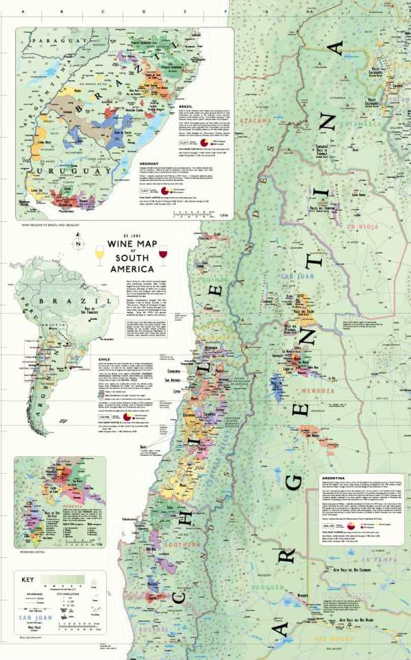 Wine Map of South America. Shows wine regions of Argentina, Brazil, Uruguay and Chile