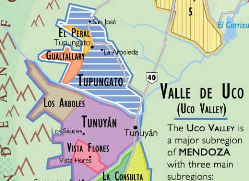 Detail of the wine map of South America showing Uco Valley region of just south of  Mendoza